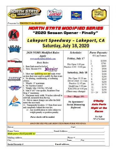 Lakeport Speedway Entry Form
